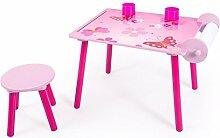 Homestyle4u Kinder Studie Hausaufgaben Schreibtisch mit Schmetterling Motiv, Holz, mehrfarbig, 30x 30x 30cm