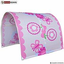 Homestyle4u Kinder Tunnel Bett mit Blumen Design,