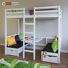 Homestyle4u Kinderbett Hochbett Funktionsbett Jugendbett 90x200 weiß Schreibtisch Etagenbe