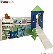 Homestyle4u Kinderbett Hochbett Spielbett Vorhang Massiv weiss Rutsche Turm Spor