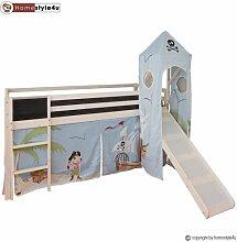 Homestyle4u Kinderbett Hochbett Spielbett Vorhang