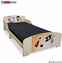 Homestyle4u Kinderbett Jugendbett Juniorbett Pirat Kinder Bett 90 x 200 Kinderzimmer