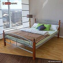 Homestyle4u Metallbett 180 x 200 Bettgestell Doppelbett Bettrahmen + Lattenrost 8077 silber