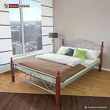 Homestyle4u Metallbett 180 x 200 Bettgestell Doppelbett Bettrahmen + Lattenrost 815 silber