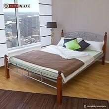 Homestyle4u Metallbett Bett Doppelbett 140 x 200 +