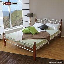 Homestyle4u Metallbett Bett Doppelbett 160 x 200 + Lattenrost Bettgestell 916 weiß