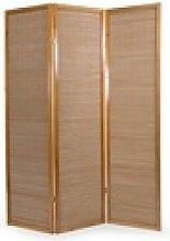 Homestyle4u Paravent 3fach Holz Raumteiler Bambus