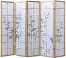 Homestyle4u Paravent 5fach Raumteiler Shoji Wand