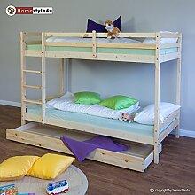 Homestyle4u Pinewood Kinder Etagenbett mit