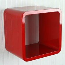 Homestyle4u Retro Cube Design Wandregal Wandboard Regal Würfel 1er ro