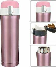 HOMETOOLS.EU® - Coffee-to-Go Thermo Becher Flasche | Flasche | hält 10h heiss, Verschluss-Sicherung, Ergonomisches Mundstück | 550ml, pink rosa