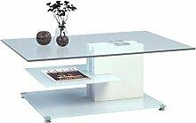 HomeTrends4You Ronda Couchtisch, weiß, Glas, 110