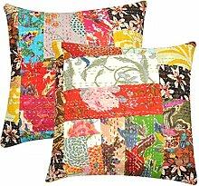 Homeyou 2Stück indische Kantha Cushion Cover mit Patch Sofa Kissenbezug Heimdekoration 16je37U
