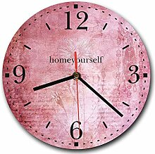 Homeyourself LAUTLOSE Runde Wanduhr Vintage rosa