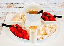 Relaxdays Schokoladen-Fondue Set mit 4 Gabeln Keramik Wei/ß
