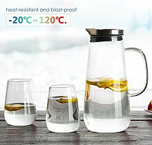 Homfa 1,5 Liter Glaskaraffe mit 2 Gläsern aus