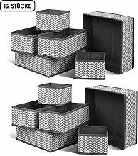 Homfa 12 Stück Aufbewahrungsbox Stoff Set faltbar