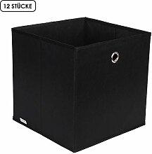 Homfa 12 Stück Aufbewahrungsbox Stoff Set Faltbox