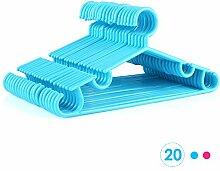 HOMFA 20er Kinder Kleiderbügel 32cm Kunststoff Baby-Kleiderbügel Wäschebügel Blau (20er Blau)