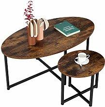 ,Klein 40x40x41cm Homfa Couchtisch rund Beistelltisch 2er Set 60x60x46cm Wohnzimmertisch Satztisch Kaffetisch Holz und Metall Industrie Design Gro/ß