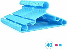 HOMFA 40er Kinderbügel Kleiderbügel 32cm Kunststoff Baby-Kleiderbügel Wäschebügel Blau (40er Blau)