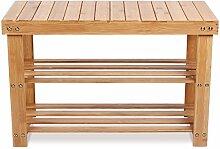 Homfa Bambus Sitzbank mit Schuhregal 3 Ablage