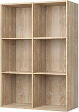 Homfa Bücherregal Regal mit 6 Fächern Raumteiler