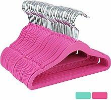 HOMFA Kinder 40er Kleiderbügel 30cm Samtkleiderbügel für Kinder und Baby mit Samt überzogen Draht Haken drehbar Antirutsch (40er rosa)