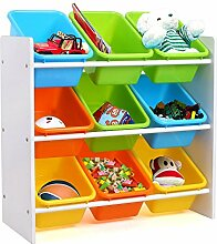 HOMFA Kinder Aufbewahrungsregal Kinderregal Spielzeugregal Spielzeugkiste Kommode mit 9 Kunststoffkästen für Spielzeug und Bücher Multi Toy Organizer 65*26.5*60cm