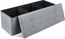 HOMFA Sitzhocker 110x38x38cm faltbar Sitzwürfel Sitzbank Sitzbox Fußbank Aufbewahrungsbox Stuhl Box belastbar bis 300KG Grau leinen