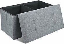 HOMFA Sitzhocker 76x38x38cm faltbar Sitzwürfel Sitzbank Sitzbox Fußbank Aufbewahrungsbox Stuhl Box belastbar bis 300KG Grau leinen
