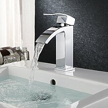 HOMFA Waschtischarmatur Einhelbel Wasserhahn Armatur wasserfall für Badezimmer Waschbecke