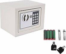 Homgrace Elektronischer Safe Tresor 23x17x17cm mit 4 Batterien - Weiß
