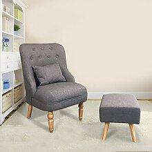 Homgrace Sessel Ohrensessel mit Hocker TV Wohnzimmersessel Relaxsessel Sitzhocker (Grau)