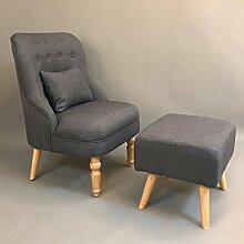 Homgrace Sessel Ohrensessel mit Hocker TV Wohnzimmersessel Relaxsessel Sitzhocker (Silber)