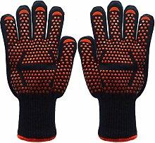 HomJo Oven Gloves Barbecue Handschuhe Extreme Hitzebeständige Handschuhe Flexible Leichtgewichtige Fünf Finger Komfort Kochen Ofen Handschuhe 932 ° F Silikon Handschuhe Baumwolle Futter Küche Outdoor Blau RED , 2