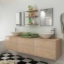 Hommoo 10-tlg. Badmöbel-Set mit Waschbecken und
