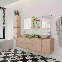 Hommoo 9-tlg. Badmöbel und Waschbecken Set Beige