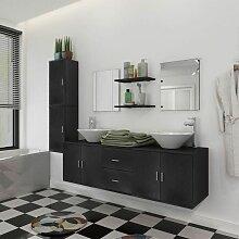 Hommoo 9-tlg. Badmöbel und Waschbecken Set