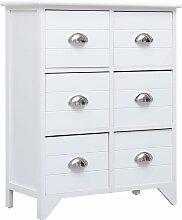 Hommoo Beistellschrank mit 6 Schubladen Weiß