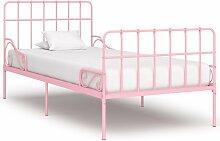 Hommoo Bettgestell mit Lattenrost Rosa Metall