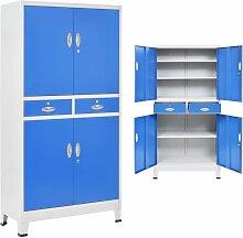 Hommoo Büroschrank mit 4 Türen Metall 90 x 40 x
