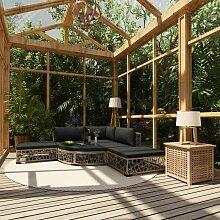 Hommoo Garten-Lounge-Set mit Auflagen 6-tlg. Poly