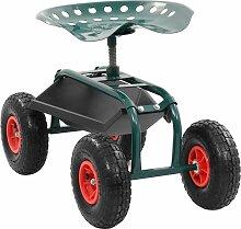 Hommoo Garten-Rollwagen mit Werkzeugablage Grün 78
