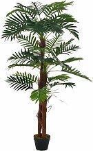 Hommoo Künstliche Pflanze Palme mit Topf Grün