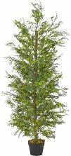 Hommoo Künstliche Pflanze Zypresse mit Topf Grün