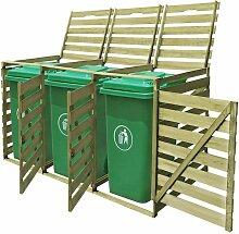Hommoo Mülltonnenbox 3 Tonnen Imprägniertes Holz