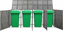 Hommoo Mülltonnenbox für 4 Tonnen Anthrazit