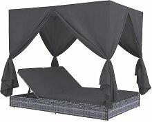 Hommoo Outdoor-Lounge-Bett mit Vorhängen Poly