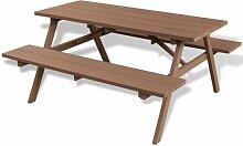 Hommoo Picknicktisch mit Bänken Braun 150